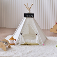 Folding Portable Pet Bed Dog Kennel Dog Cat House Wood Lace Pet Tents Cute Dog Cage Pet Bed Warm Soft Dogs House Kennel with Mat