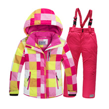 2016 New winter ski Jacket + Pants FOR 4-13 Years Baby Girl's Waterproof Windproof Outdoor Sport Ski Suit Set children snow suit