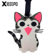 Travel Accessories Luggage Tag Cute Cartoon Cheese Cat Silica Gel Suitcase ID Address Holder Baggage Boarding Tag Portable Label