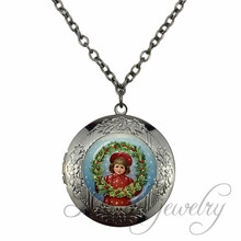 Christmas Girls with Christmas Garland Art Picture Glass Black Gun Plated Locket Pendant & Chain Flower Choker Necklace Jewelry