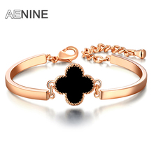 AENINE Romantic Valentine's Gift Bangle Rose Gold Color Clover Stone Bracelet For Women Trendy Christmas Jewelry B150110220R