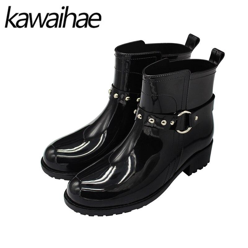 2017 Autumn Winter Women Shoes Ladies Waterproof Rain Boots Rubber Shoes Brand Kawaihae<br>