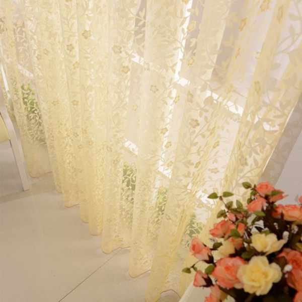 Home Decor Leaves Sheer Voile Drape Door Window Room Divider Scarfs Curtains