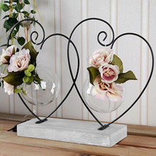 Valentine 's Gift Wedding Decoration Home Decoration Crafts Double Heart Decorative Vases New Year Christmas Decor Vase(China)