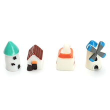 Mini Resin Church Castle Windmill Shed Cabin House Fairy Garden Miniature Craft Micro Cottage Landscape Decoration 2 pcs/set(China)