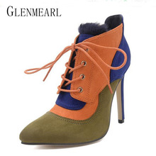 2017 Fashion Sexy Winter High Heel Women's Boots Shoes Plus Size Lace Pointe Toe Females Ankle Boots Thin Heel Pumps Fur Boots45(China)
