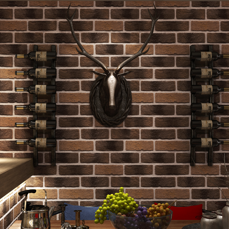 Retro Washable Imitation Brick Pattern Wallpaper For Walls 3 d Coffee Restaurant Bar Cafe Red Brick Stone Wall Paper Roll<br>