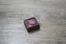 30 Pcs/lot square chocolate Sweet tree leaves Tart Cabochon Charm DIY Cell Phone Deco Jewelry Making Finding Key chain