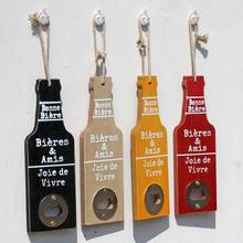 1PC Vintage Beer Bottle Opener wooden beer shape Wall decor Bottle Openers Cap Catcher Multi function Bar tool A35