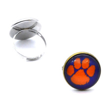 NCAA Clemson Tigers Clear Domed Glass Cabochon Cover and Brass Pad ring jewelry for DIY Portrait Ring Making