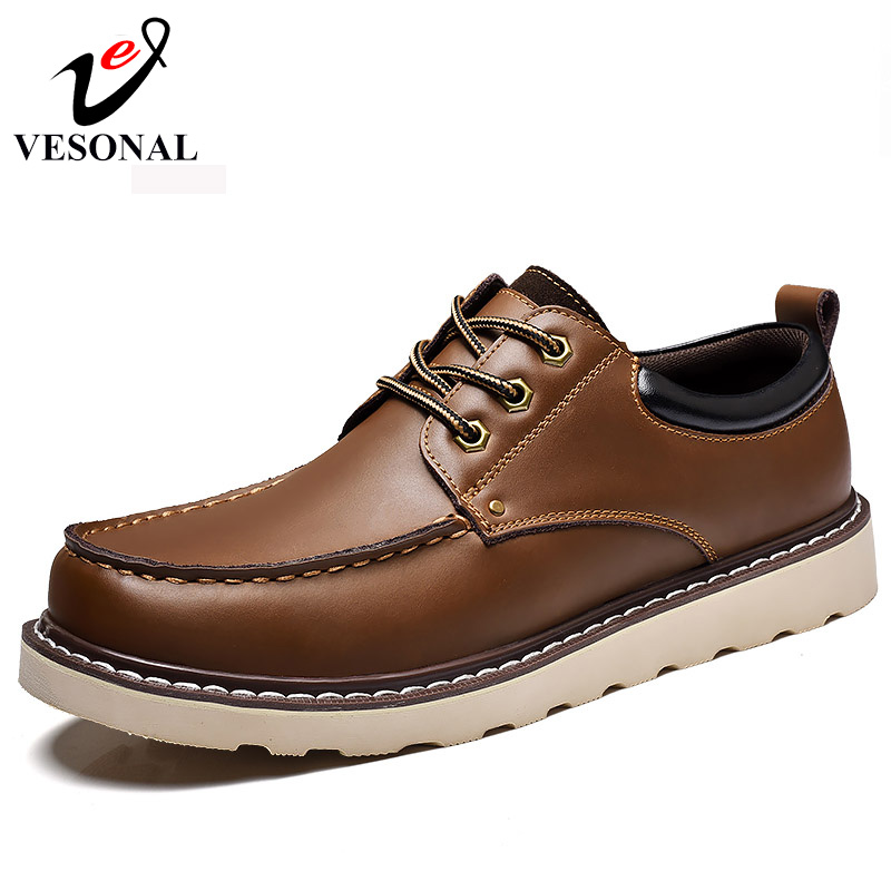 VESONAL Hot Sale 2017 Brand Work Casual Men Shoes Male Adult Genuine Leather Quality Walking Autumn Winter Driver Footwear Man<br>