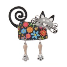 Enamel Cat Women Brooch Pins Black,Red,Blue,Pink Animal Brooches Costume Jewelry