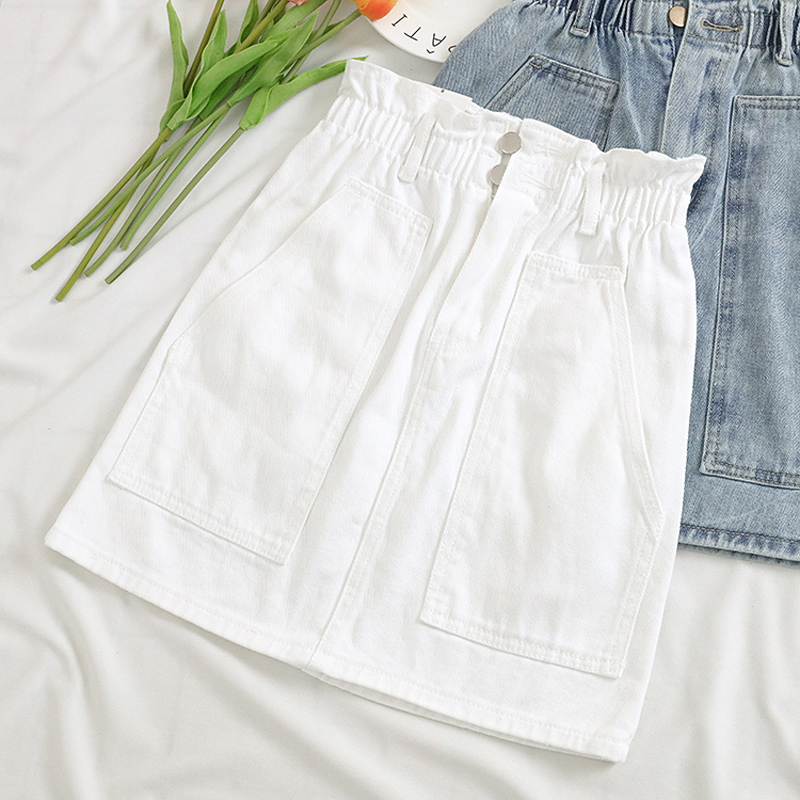 Elastic Waist Summer Women Denim Skirt Pockets Sexy White High waist jeans Skirts A-line Casual Ruffles Female mini saia mujer 6