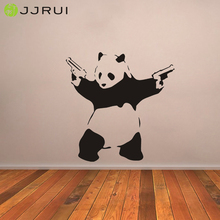 JJRUI wall stickers Large Bad Panda Banksy Gangster Guns Wall Art Decal Vinyl Home Decor for Rooms