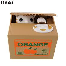Itazura Automatic Stealing Coin Cat Kitty Coins Cents Piggy Bank Saving Box Gags Practical Jokes Kids Gift