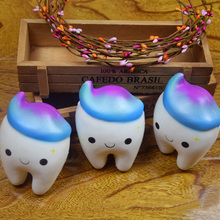 11.5CM Catoon Jumbo Squishy Rainbow Tooth Slow Rising Cool Tooth Phone Strap DIY Decor Squeeze Bread Toys Gift(China)
