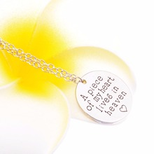 """A Piece of My Heart Lives In Heaven"" Remembrance Necklace Infant Loss Jewelry Personalized Memorial Jewelry Loved Necklace"