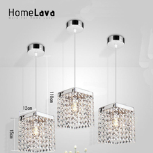 Mini Modern Simple Chrome Plating Crystal Pendant Light Living Room Bedroom Study Room Kitchen Dining Room Square Pendant Light