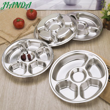 JIANDA 304 Stainless Steel Divided Dinner Plate Dish Round Students Lunch Tray Plate Tableware Canteen Supplies(China)