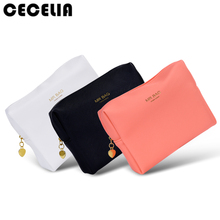 Cecelia Candy color PU Leather Cosmetic Bag Women MakeUp Bag Organizer Waterproof Storage Bag Neceser(China)