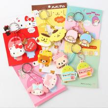 20 new style Silicone Key Cover Hello Kitty Doraemon Rilakkuma Mini Key Cover Key Caps Lovely Keychain Keyring For Kids Gift(China)