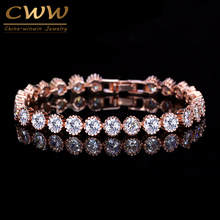 CWWZircons Classic Round Crown Shape Cubic Zirconis Tennis Bracelet Bangle Rose Gold Color Women Fashion Jewelry Gift CB035