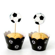 12 sets Football Soccer Paper Cupcake Wrapper Toppers 12pcs Wrappers+12 pcs Toppers for Children Birthday Party Wedding Supplies