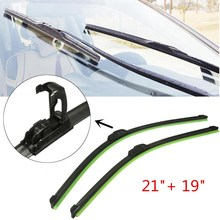 "1 Pair 21"" + 19"" Black Universal J-Hook Car Accessories Windshield Wiper Blade Bracketless Arm Blade"