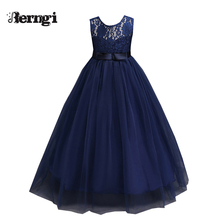 High quality Girl lace dresses Teenager Sleeveless Kids Party princess For Wedding Events Party Baby Girl Birthday Dress