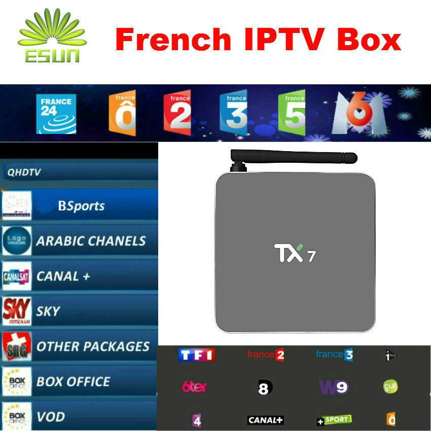 TX7 1 Year Free 900+Channels French IPTV Arabic IPTV QHDTV/Neotv Android 6.0 Amlogic S905X Quad core 2/32G Android TV Box H.265 <br><br>Aliexpress