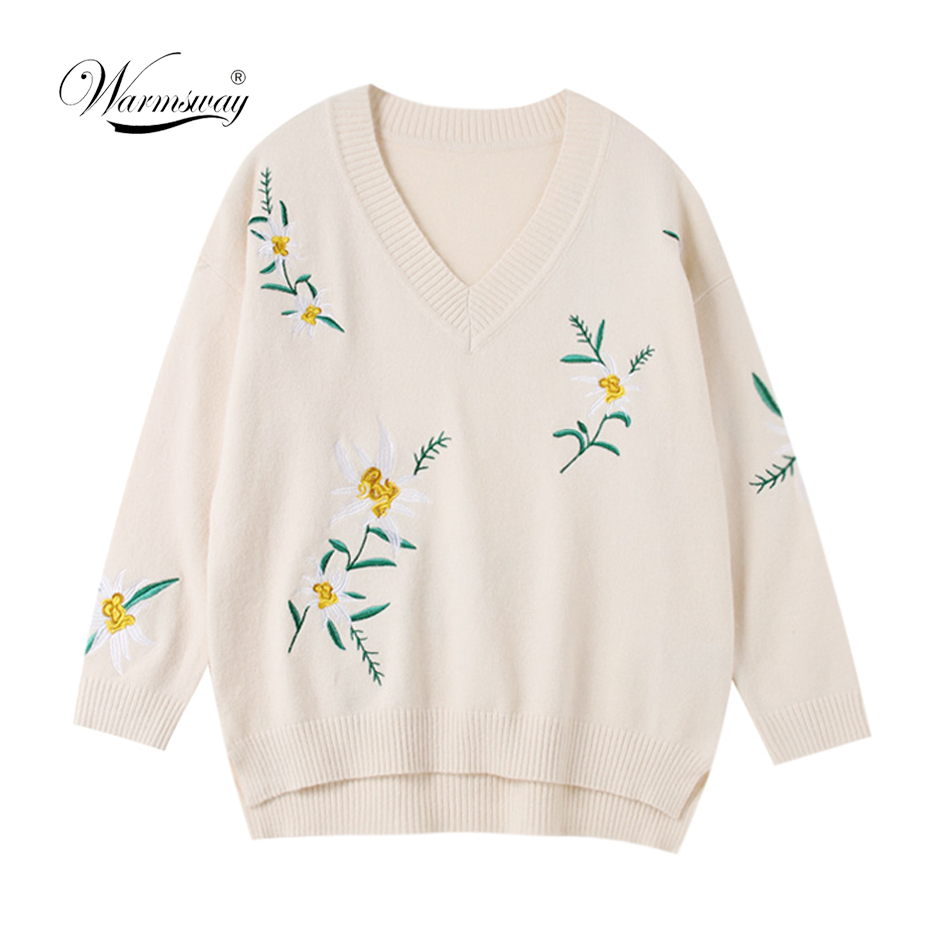 Women Oversized Sweaters And Pullovers Long Knitted Female Sweater V Neck Knitwear Long Sleeve Jersey Sweaters Pull C-291