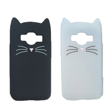 3D Cute Japan Glitter Bearded Cat Case For Samsung Galaxy Core Prime VE G361 G360 G3606 Cover Silicone Mobile Phone Bags