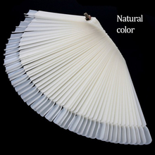50PCS Transparent/Natural Fan Board Display Nail Art Tips False Round Hoop Stick Practice for Polish Gel Showing Tools