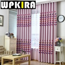 Printed Coral Pattern Curtain for Living Room Window Curtain Panels Floral Curtain Drapes Home Decoration Pink Blue Curtain 40(China)