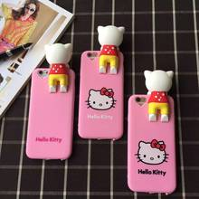 Hot Cartoon Papa Hello Kitty Case For iphone 6 6s Soft Silicon Doll KT Cat with dust plug back cover For iphone 6 6s Plus case