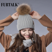 Furtalk Real Fur Hat Knitted Real Big Raccoon Pom Pom Hat Women Winter Hat(China)