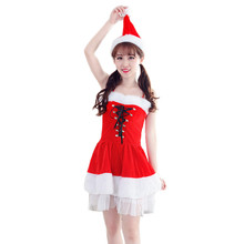 2017 Best Sale Women Sexy Santa Christmas Costume Fancy Dress Xmas Office Party Outfit bandage dress vestidos mujer robe femme(China)