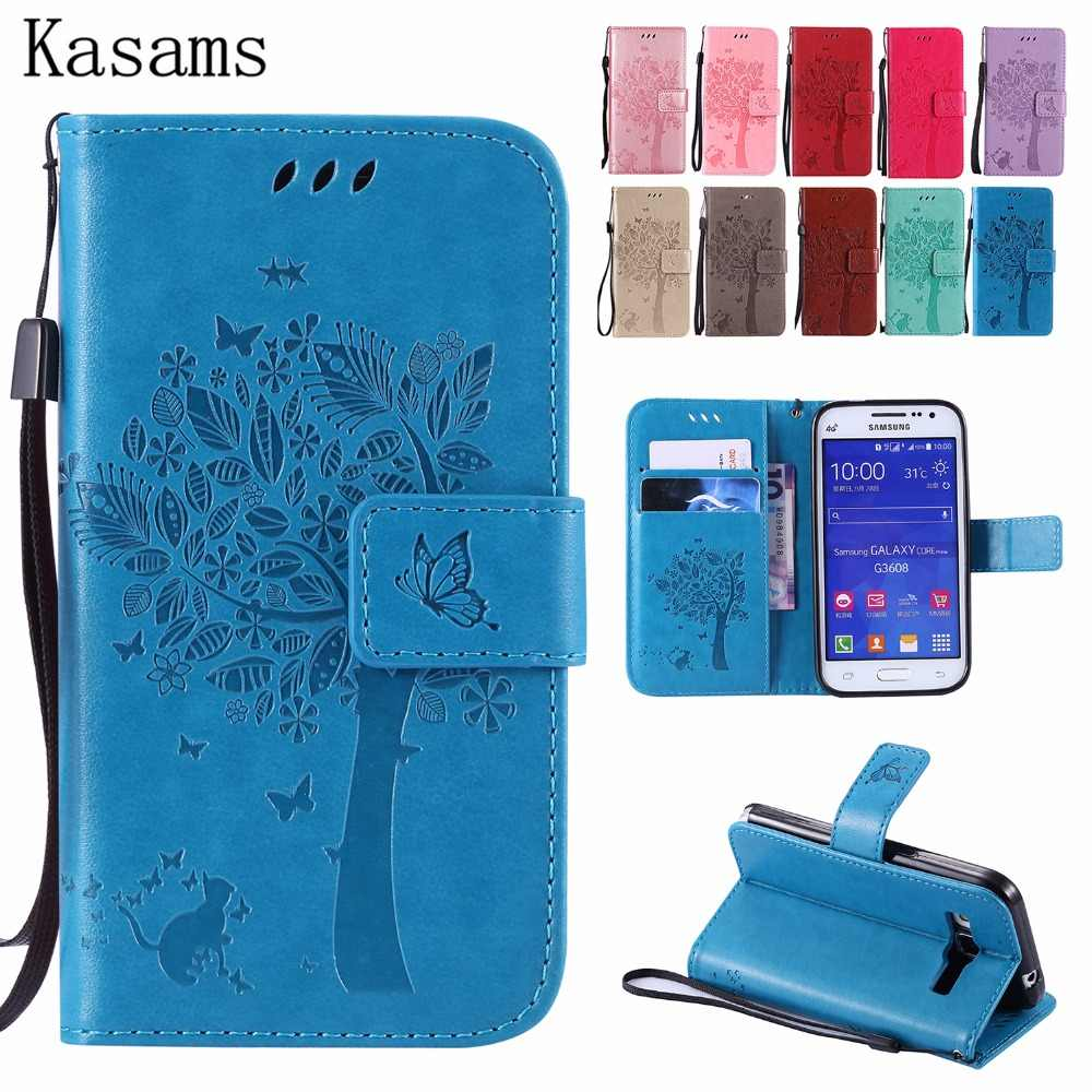 3D Tree For Samsung Grand Prime G530/ Core Prime G360 Win 2 /Core LTE 4G G386F Phone Case PU Leather Flip Cover Fundas Coque