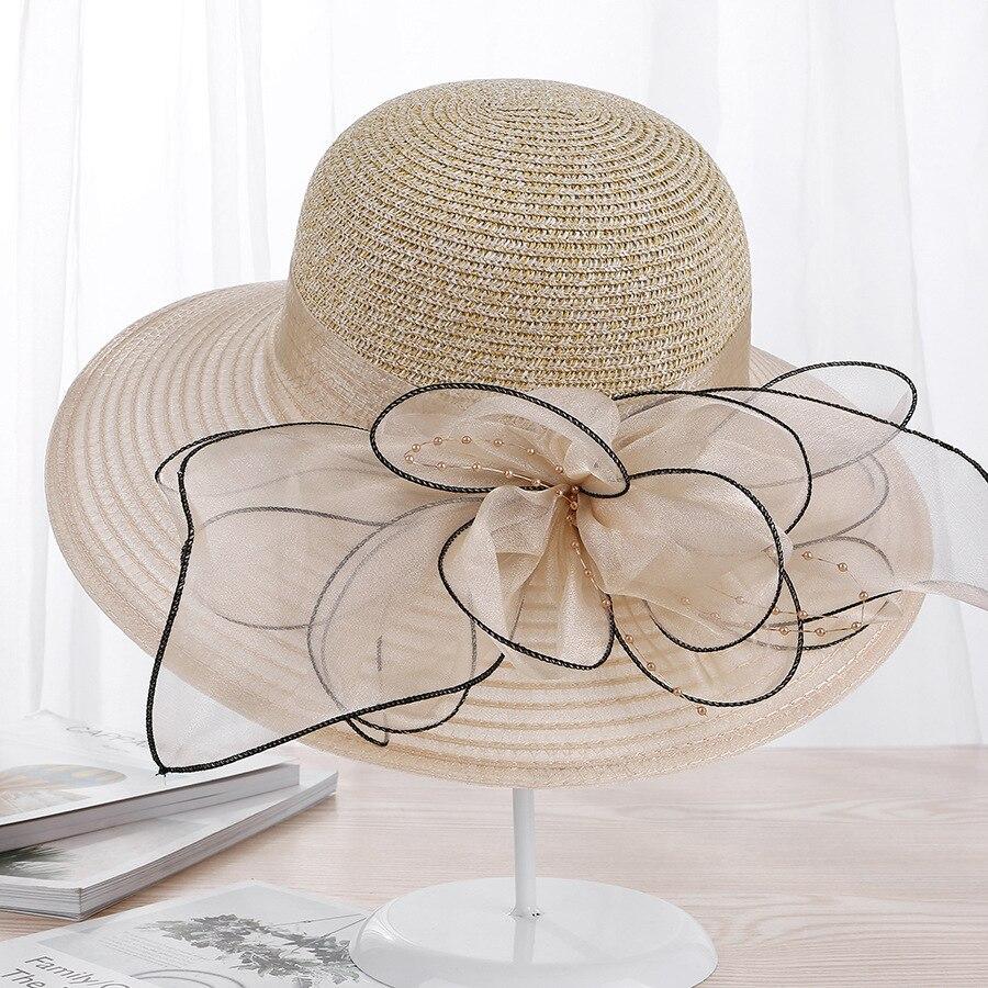 Chapeau Occasionnel Large Bord Soie Fleur