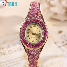 Free Shipping Women Crystal Diamond Bangle Bracelet Wrist Watch With Rhinestone Boutique Gift 170630