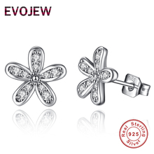 Romantic Dazzling Daisy Flower 925 Sterling Silver Clear CZ Stud Earrings For Women Girl Jewelry Gift(China)