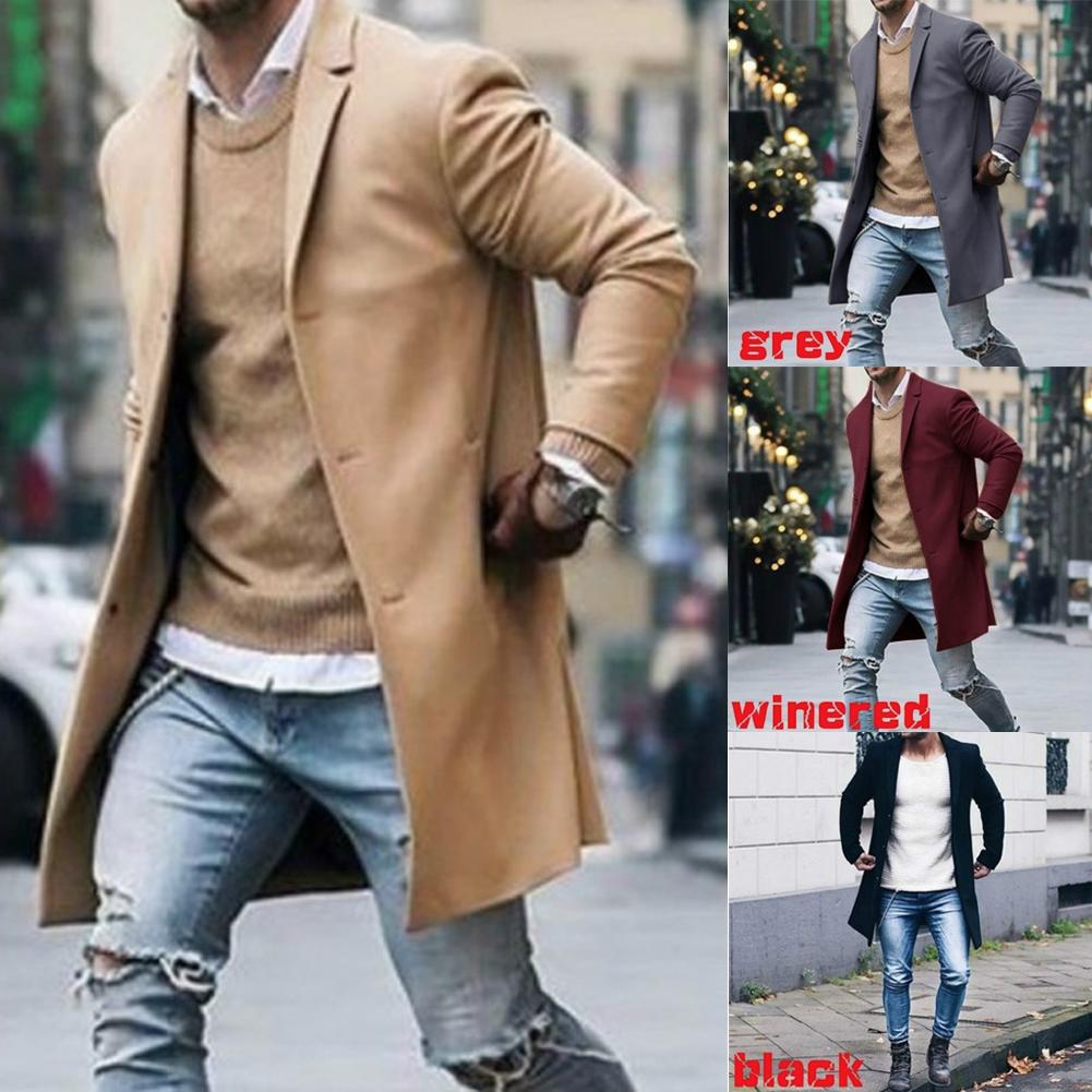 Coat Winter Warm Single-Breasted Men Wool Trench Outwear Overcoat Peacoat Jacket