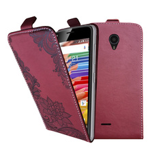 3D Stereo Embossing lace flower butterfly flip up and down leather phone bag cover case for Micromax Canvas Pace 4G Q415