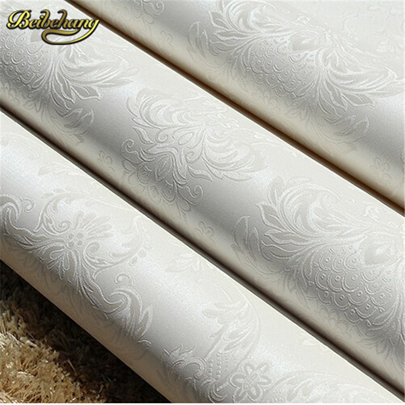 beibehang papel de parede. Background wallpaper damask PVC embossed white wallpaper Roll wall paper Home Decor for living room<br>