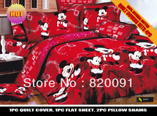 HOT SALE ! RED CARTOON HAPPY MICKEY MOUSE Bedding Doona Duvet Cover Set For Children 4PCS Full/Queen 100% Cotton-Home Textile