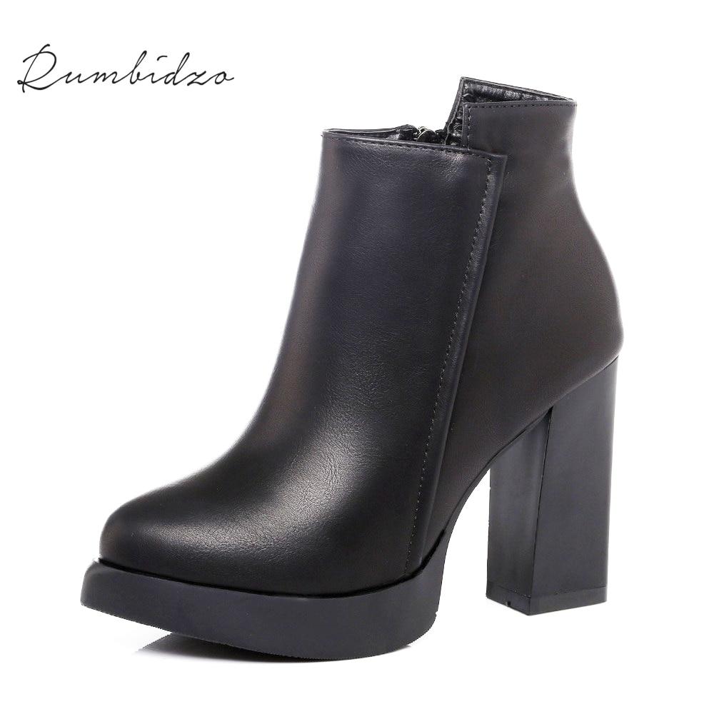 Rumbidzo Women Boots 2017 Fashion Pointed Toe Ankle Boots Women Winter Short Plush Zipper Bootie Sapatos Bootie Feminios<br>