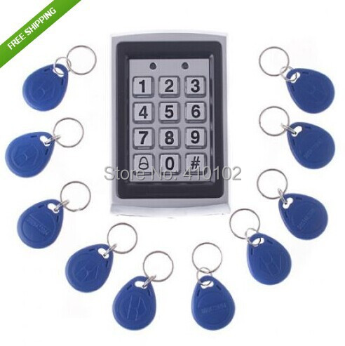 10Pcs Card  Free +Metal Proximity RFID Card  Door Entry Single Door Lock Waterproof Access Control System  Keypad<br><br>Aliexpress