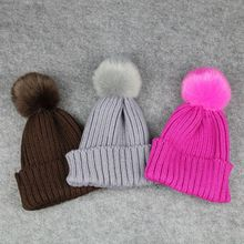 Fashion Cute Winter Warmer Kids Children Soft Crochet Knitting Hat Wool Fur Cap Beanie Pompom Ball Hat