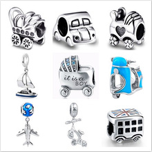 Silver charms 925 Original Vehicle Car plane Toy Charm Beads Fit Authentic pandora Bracelet Pendant DIY bead Jewelry making Gift