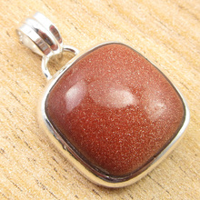 "GIRLS' Silver Plated Amazing Gold Stone GIFT IDEA Pendant 1.2"" ONLINE STORE(China)"